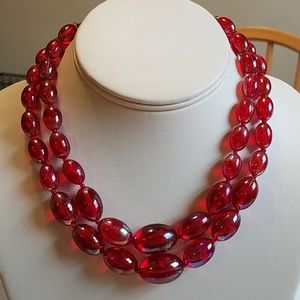 Vintage 1950s Red Oval Bead Choker Necklace